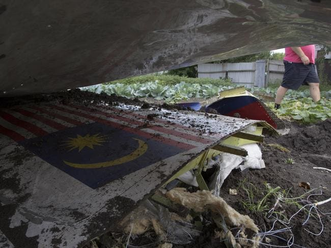 Wreckage ... A man walks past a piece of the crashed Malaysia Airlines Flight 17 in a garden in the village of Petropavlivka, Donetsk region, eastern Ukraine. Picture: AP