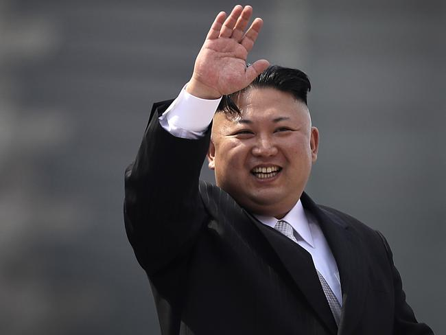 North Korean leader Kim Jong-un waves during a military parade in Pyongyang, North Korea, to celebrate the 105th birth anniversary of Kim Il-sung, the country's late founder. Picture: AP Photo/Wong Maye-E
