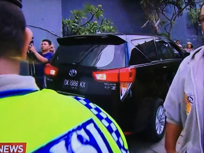 Police arrive at the home of Schapelle Corby before her deportation. Picture: Channel Seven