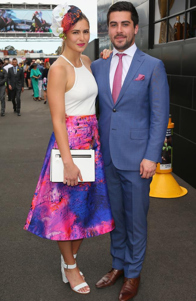 Frances Abbott with boyfriend Lindsay Smith on Melbourne Cup Day at Flemington. Picture: Scott Barbour/Getty Images