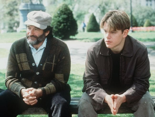 Robin Williams and Matt Damon sit on the bench in Boston Public Garden featured in  <i>Good Will Hunting</i>.