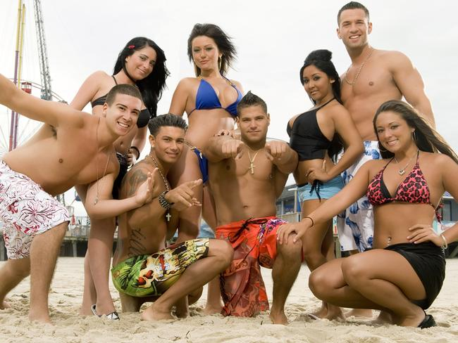 Housemates (back L-R) Angelina, Jwoww, Nicole 'Snooki' Polizzi and Mike 'The Situation' Sorrentino, (front L-R) Vinny, Pauly D, Ronnie and Sammi f-rom the MTV reality TV program 'Jersey Shore'.