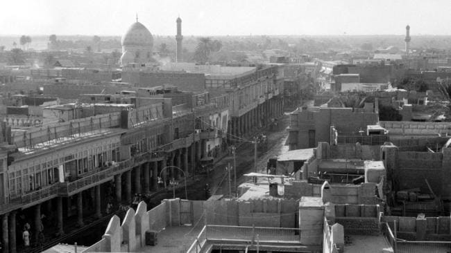 This pic dates back to the 1930s, but you can see the same sort of elegant Baghdad streetscape that was commonplace well into the 1950s.