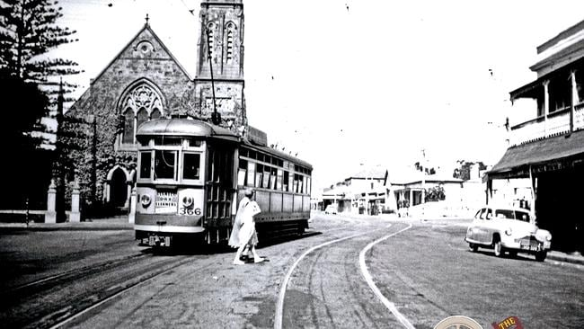 A tram in front of the Clayton Wesley Uniting Church on The Parade. Picture: John Radcliffe/Tramway Museum