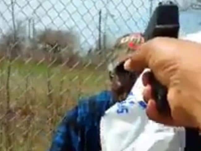 Steve Stephens points a gun at Robert Godwin Sr in the horrific Facebook video.
