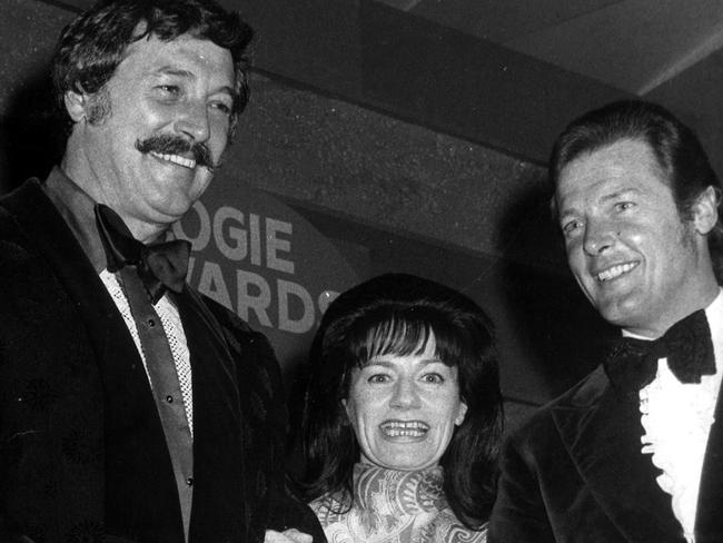Roger Moore with Australian TV personality Mary Hardy and Rock Hudson at the Logie Awards in 1972. Picture: Supplied