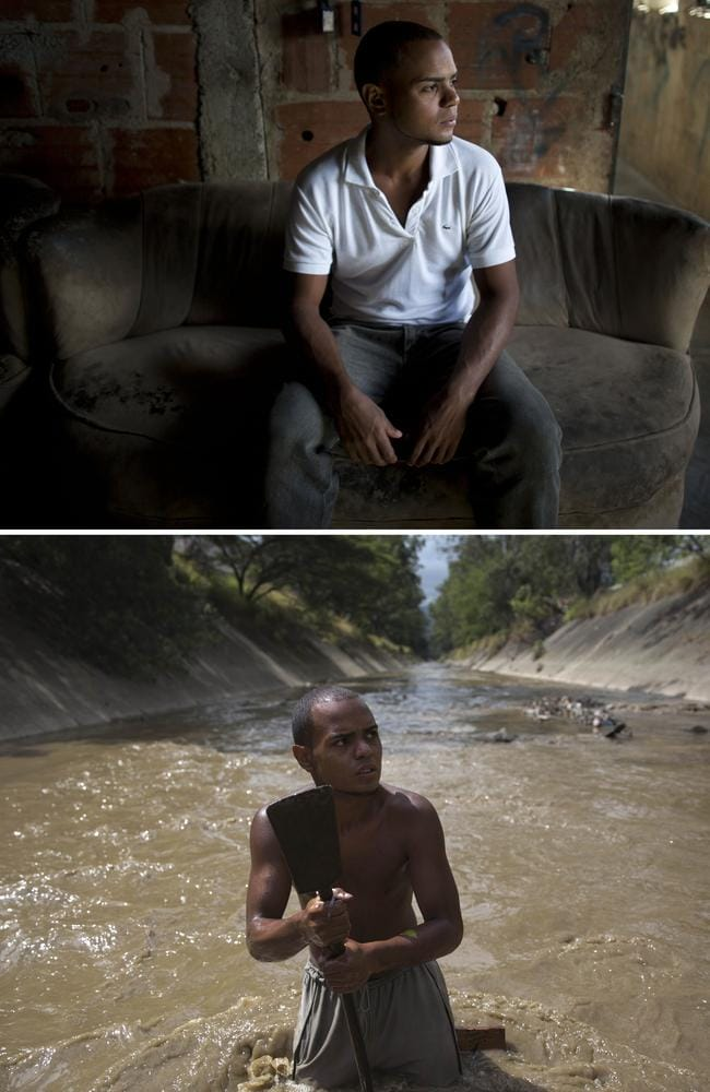 This combo of two photographs shows Angel Villanueva in his living room, top, and standing in the Guaire River where he uses a metal bar to break up the bottom of the polluted waterway. The 25-year-old, who lives with his father, turned to the river about six months ago when he lost his job at a home appliance store. When he took home finds worth $20 the first day, he was hooked. Picture: AP/Ariana Cubillos