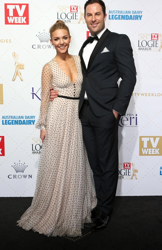 Sam Frost and Sasha Mielczarek at the Logies. Picture: Julie Kiriacoudis
