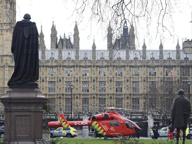 An Air Ambulance on the scene outside the Houses of Parliament, London. Picture: AP