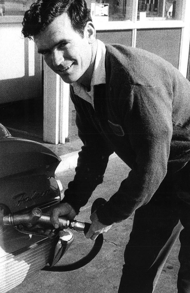 Jockey Tom McGinley worked as a petrol-pump attendant at a Mentone service station during the week in 1969. Picture: Herald Sun Image Library