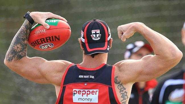 Jake Carlisle was happy to show off what he's made of at a recent St Kilda training session. Picture: Wayne Ludbey