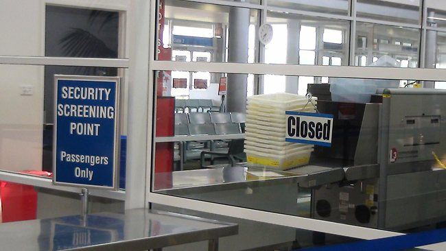 Scanning and security checkpoint closed at Ballina Airport in northern NSW at 6.30am, allowing passengers to board planes without passing security and avoid having their baggage screened. Picture: Hansen Jane