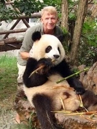 Bill Passman pictured at a panda research centre in China. Picture: World Tattoo Traveller