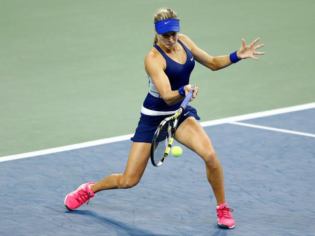 Bouchard on the forehand.