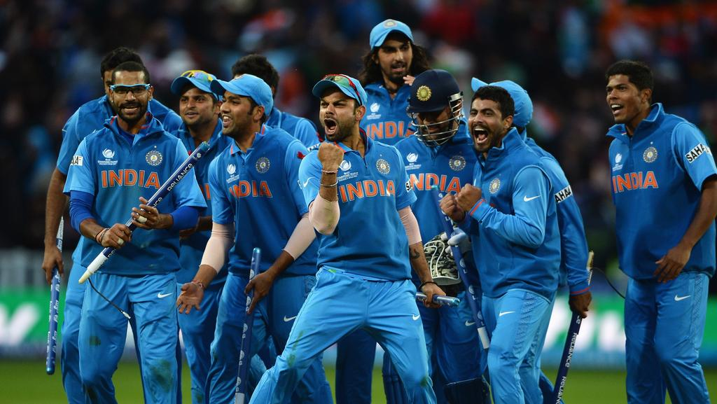 Virat Kohli celebrates India's victory in the 2013 ICC Champions Trophy final.