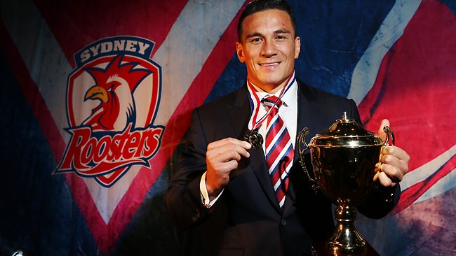 Sonny Bill Williams poses with the Jack Gibson Medal at Easts Leagues Club. Picture: Toby Zerna