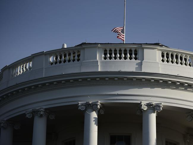 The US flag flies at half-mast at the White House. Picture: AFP