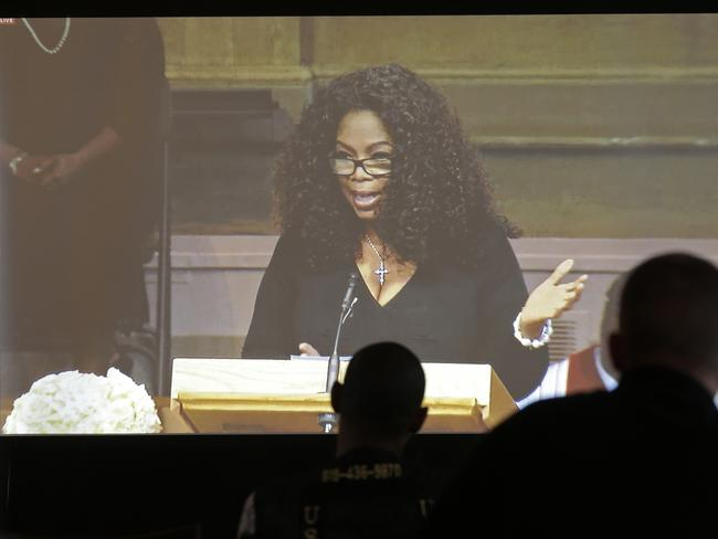 Mentor...Oprah Winfrey speaks during a memorial service for poet and author Maya Angelou. Picture: AP