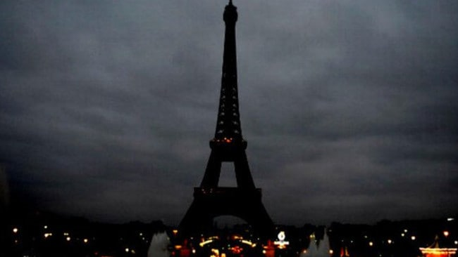 The Eiffel Tower in Paris is unlit out of respect for those who died in the terror attacks on November 14 2015. Source: TWITTER @france7776