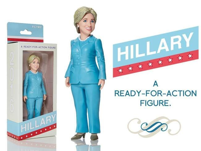 One Brooklyn company is so keen to support the former Secretary of State that they've started a Kickstarter campaign to make an action figure in her likeness. Picture: FCTRY/Splash News