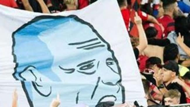 The banner from the derby that outraged FFA bosses. NOTE: The picture has been cropped to remove obscene gestures.