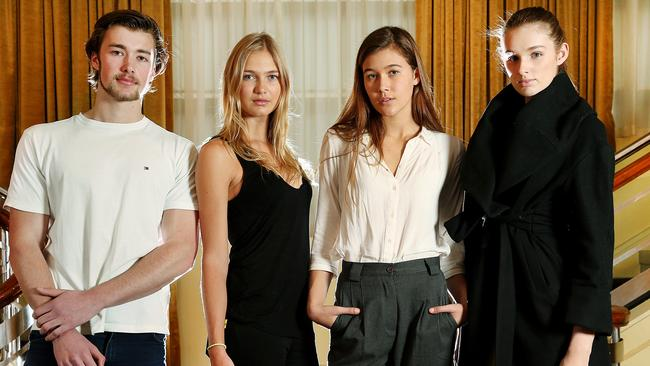 Myer model castings. Left to right: Angus Kleiman, Ellie Lemons, Bianca Guest and Annie Broussard.