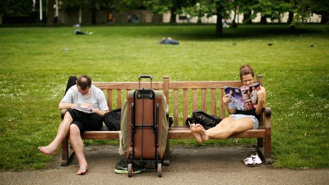 Britons enjoying the ?hot? weather in St James Park in London, England. Picture: Matthew Lloyd/Getty Images