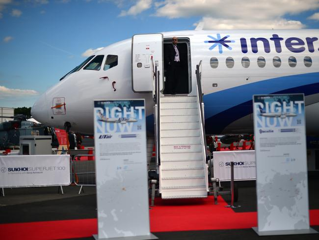 The Sukhoi Superjet 100 at the Farnborough air show.