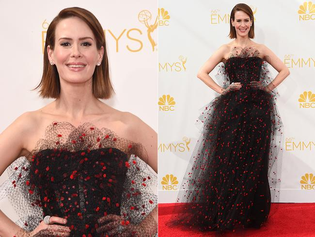 Sarah Paulson walks the red carpet at the 2014 Primetime Emmy Awards red carpet. Picture: Getty/AFP