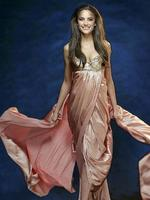 <p>Rachael Finch dressed in Ruth Taryvadas.</p>
