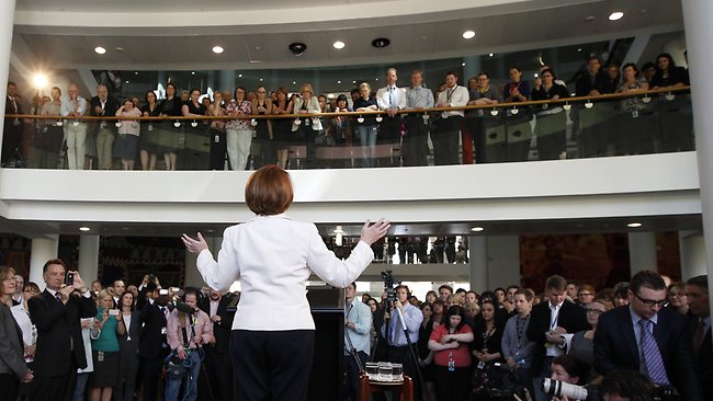 Prime Minister Julia Gillard addressing DFAT staff at the Department of Foreign Affairs and Trade building in Canberra this morning. Picture: Smith Kym