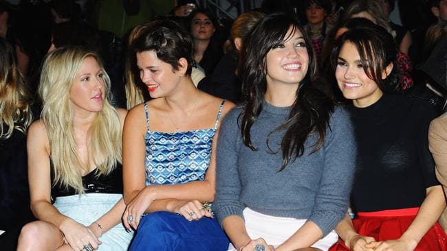 Ellie Goulding, Pixie Geldof, Daisy Lowe and Samantha Barks attend the Topshop Unique show during London Fashion Week SS14. Picture: Samir Hussein/Getty Images