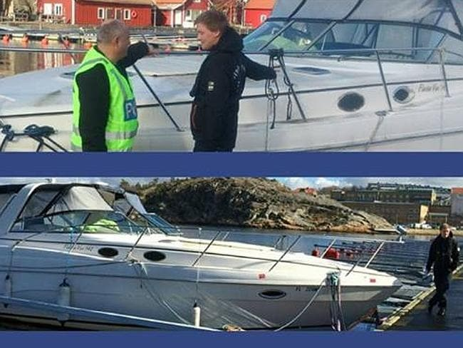 Police inspect the $116,000 yacht left floating in a Swedish harbour for two years. The owner finally came forward this week, claiming he thought he had sold the vessel in 2012.