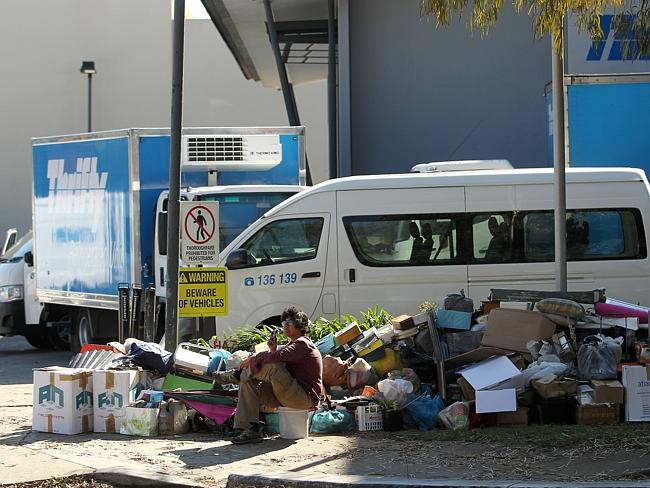 One of the 'Bondi Hoarder' Bobola sisters guarding their rubbish / Picture: Tim Hunter