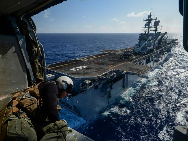 Mobile barracks ... The USS Makin Island (LHD-8), a Wasp-class amphibious assault ship, prepares to land a helicopter. Source: Facebook