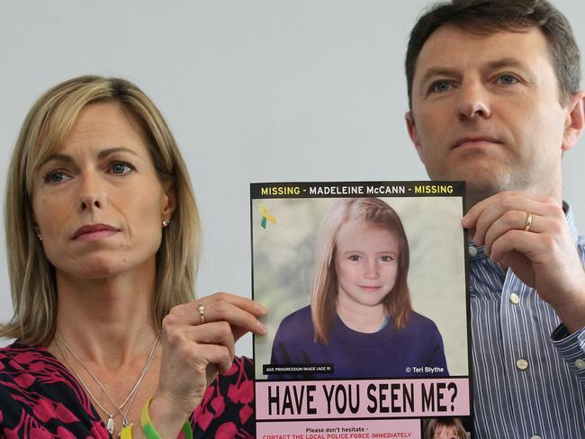 Kate and Gerry McCann hold an age-progressed police image of their daughter during a news conference in 2012 in London, England. Picture: Getty Images