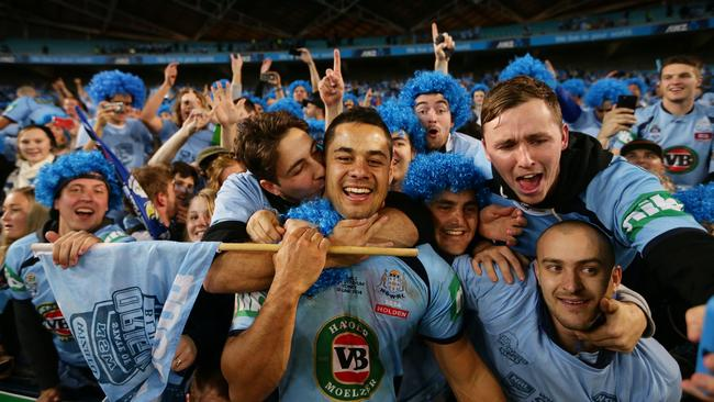 NSW's Jarryd Hayne celebrates victory with the crowd.