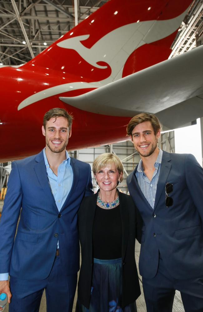 Foreign Minister Julie Bishop with Australian Models Jordan and Zac Stenmark at the launch of the G'Day USA program in Sydney. Pic: AAP/Dan Himbrechts. Picture: Supplied