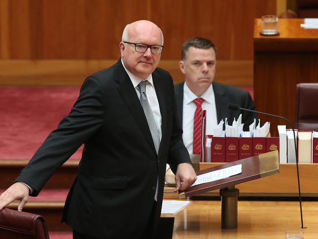 Attorney-General Senator George Brandis has declined to say which gay marriage bill it will support. Picture Kym Smith
