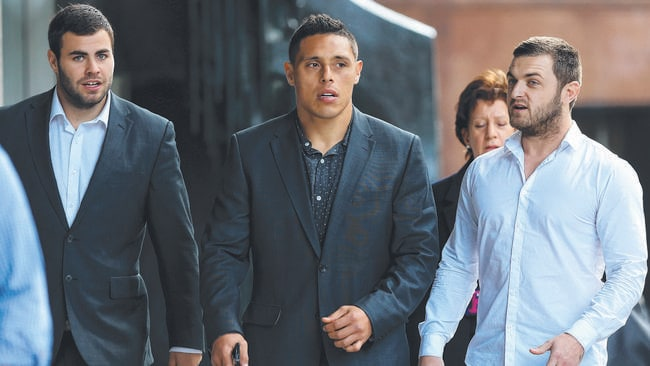 Cronulla Sharks players Graham, Anthony Tupou and Nathan Gardner leave their lawyer Richard Redman's office in Pitt St and walk to a meeting at the Reserve Bank building in Martin Place for meetings regarding the ASADA issue.