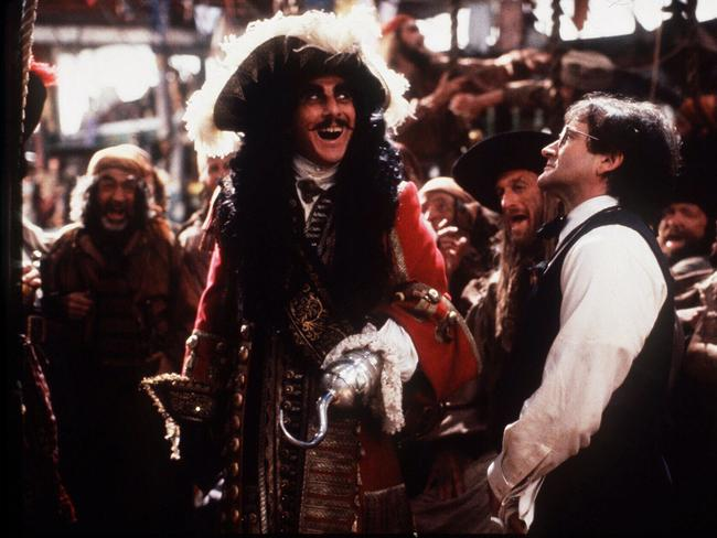 "Robin Williams with actor Dustin Hoffman in scene from film ""Hook"". Picture: Supplied"
