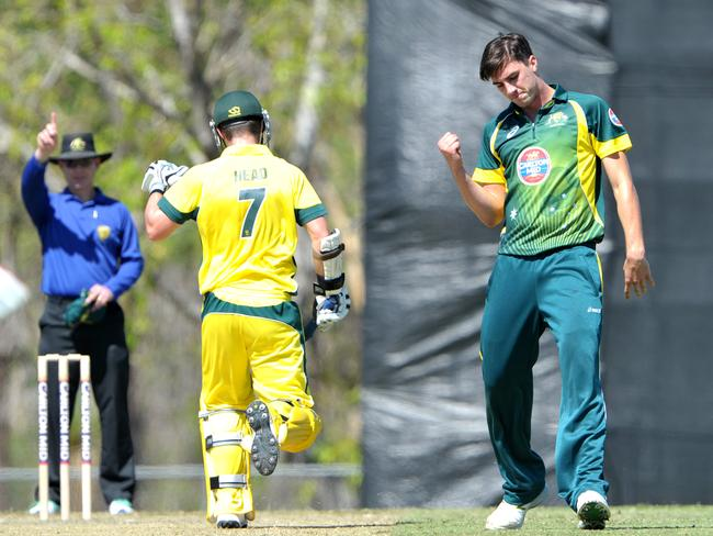 Australia A's Pat Cummins celebrates the wicket of NPS's Travis Head.