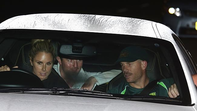 Candice Falzon drives Dave Warner out of the SCG in the early hours of today. Picture: Bill Hearne