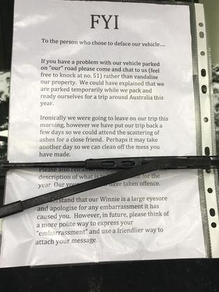 The campervan owners responded urging the original note writer to speak with them in person. Picture: Dannielle Miller
