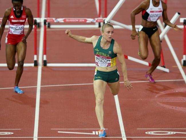 Sally Pearson was unchallenged in her heat win. Picture: Adam Head