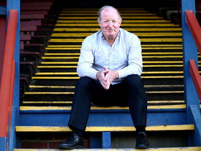 Peter Bedford sitting in the old Port Melbourne football club stand. Picture: Wayne Ludbey