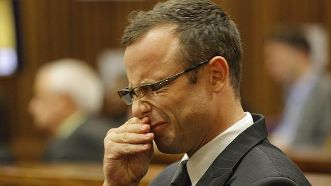 Distressing ... South African Paralympic athlete Oscar Pistorius attends his ongoing murder trial.