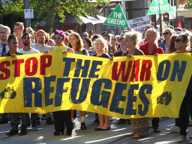 Protesting ... Crowds in central Sydney, Melbourne and Canberra took to the streets calling for asylum-seekers to be allowed to stay. Picture: AAP Image/David Crosling