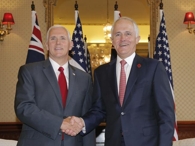 G'Day! Malcolm Turnbull greets US VP Mike Pence at Admiralty House.