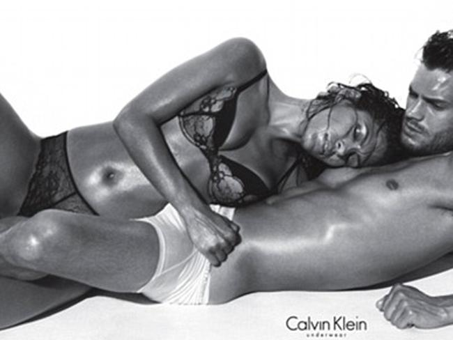 Body issues ... Jamie Dornan, with Eva Mendes in an ad for Calvin Klein, feels too skinny.